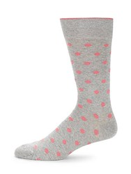 Saks Fifth Avenue Three Pack Dots No Show Socks Grey
