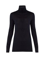 Valentino Roll Neck Cashmere Sweater Navy