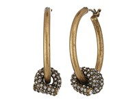 Marc Jacobs Pave Twisted Wire Earrings Crystal Antique Gold Earring Clear