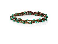 Feathered Soul Men's Malachite And Silk Wrap Bracelet Dark Brown