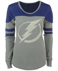 G3 Sports Women's Tampa Bay Lightning Hat Trick Thermal Long Sleeve T Shirt Silver Royalblue