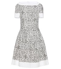 Carolina Herrera Printed Tweed Dress White