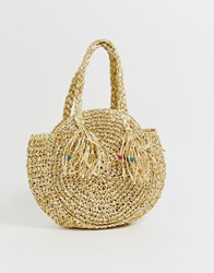 South Beach Structured Round Straw Bag With Short Handle Tan