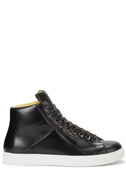 Mr. Hare Jack Johnson Black Leather Hi Top Trainers