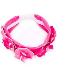 Miu Miu Floral Embellished Headband Pink And Purple