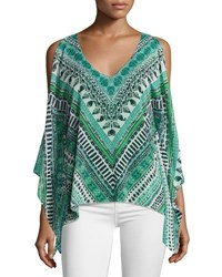 Ramy Brook Lily Long Sleeve V Neck Printed Top Multi