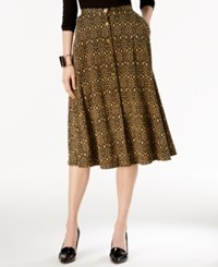 Ny Collection Printed A Line Skirt Clay Nomad