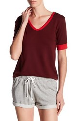 Alternative Apparel V Neck Colorblock Tee Red