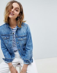 Maison Scotch Customised Denim Trucker Jacket Blue