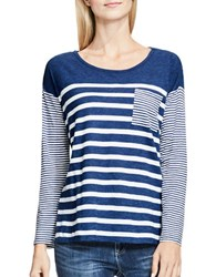 Vince Camuto Mixed Ink Stripe Tee Blue