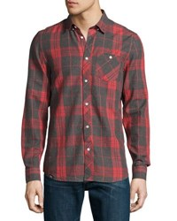 Wesc Ole Plaid Print Cotton Sport Shirt Navy