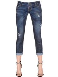 Dsquared Pat Distressed Waxed Cotton Denim Jeans