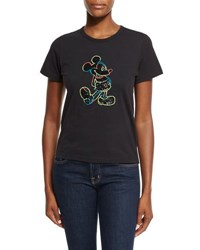 Marc Jacobs Holiday Embellished Mickey Mouse T Shirt Black