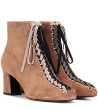 Roger Vivier Bootie Tressage Chunky 70 Lace Up Suede Ankle Boots Brown