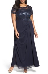 Alex Evenings Plus Size Women's Sequin Lace And Chiffon Ruched Long Dress