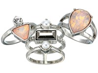 Guess Three Piece Stone Ring Set Silver Pink Pearl Ring