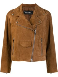 Simonetta Ravizza Textured Biker Jacket Brown