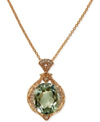 Effy Collection Effy Green Amethyst 4 Ct. T.W. And Diamond 1 10 Ct. T.W. Pendant Necklace In 14K Gold