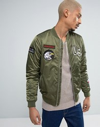 Pull And Bear Pullandbear Ma1 Bomber Jacket With Patches In Khaki Khaki Green