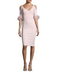 La Petite Robe Di Chiara Boni Fabrizia Cold Shoulder V Neck Cocktail Dress Poudre