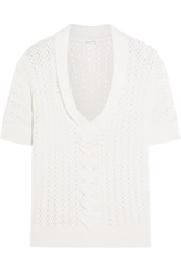 Oscar De La Renta Open Knit Cashmere And Silk Blend Top