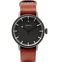 Tsovet Svt Sc38 38Mm Stainless Steel And Leather Watch Black
