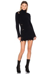 Yeezy Destroyed High Neck Boucle Sweater Dress Black