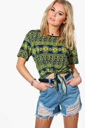 Boohoo Charlotte Printed Tie Crop Top Yellow