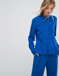 Gestuz Button Down Flare Blouse Co Ord Skydiver Blue