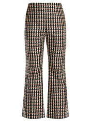 Marni Ripple Print Kick Flare Cotton Blend Trousers Black Print
