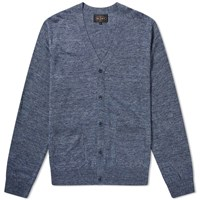 Beams Plus Cardigan Linen Blue
