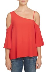 1.State Women's One Shoulder Top Poppy Red