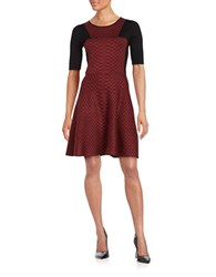 Gabby Skye Round Neckline Elbow Length Sleeve Dress Black Claret