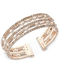 Anne Klein Rose Gold Tone Imitation Pearl And Crystal Multi Row Cuff Bracelet