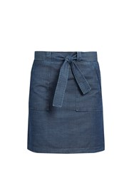 A.P.C. Nairobi Cotton Chambray Mini Skirt Indigo