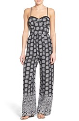 Women's Band Of Gypsies Print Sweetheart Jumpsuit Black