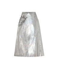 Christopher Kane Metallic Skirt With Applique Silver