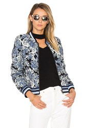 Blank Nyc Floral Bomber Jacket Blue