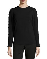 Michael Michael Kors Jeweled Sleeve Knit Top Black
