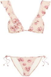 Eberjey Flying Lotus Ruffled Floral Print Triangle Bikini Pastel Pink