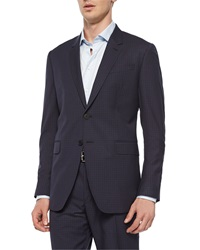 Paul Smith Mini Check Two Button Sport Coat Navy