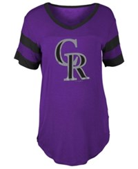 5Th And Ocean Women's Colorado Rockies Sleeve Stripe Relax T Shirt Purple