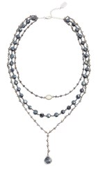 Ela Rae Three In One Midi Necklace Iolite Black Labradorite Opal