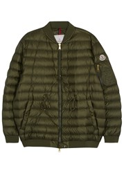 Moncler Gaufre Dark Olive Quilted Shell Jacket Khaki
