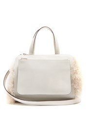Valextra Passepartout Medium Shearling Trimmed Leather Bag Ivory