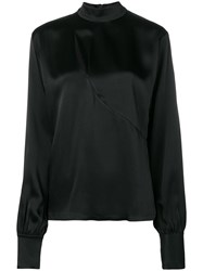 David Koma Chest Cut Out Detail Blouse Black