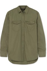 J.Crew Oversized Cotton Twill Shirt Green
