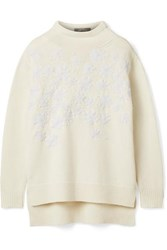 Lela Rose Beaded Embroidered Wool And Cashmere Blend Sweater Ivory