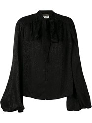 Saint Laurent Pussy Bow Blouse Black