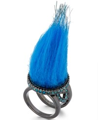 Betsey Johnson Xox Trolls Faux Fur Ring Only At Macy's Blue